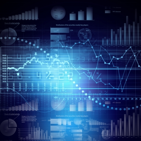 information graphics: Abstract high tech background with graphs and diagrams Stock Photo