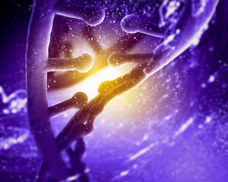 DNA molecule is located in front of a colored background  abstract collage Stock Photo - 19036869
