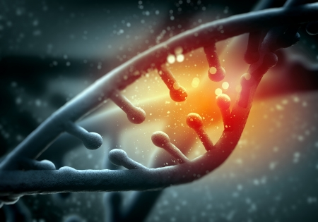 DNA molecule is located in front of a colored background  abstract collage Stock Photo - 19036484