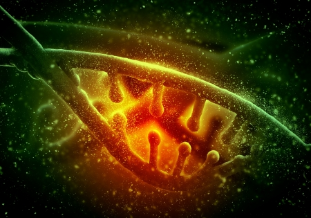 DNA molecule is located in front of a colored background  abstract collage Stock Photo - 19037112