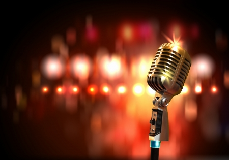 show: Single retro microphone against colourful background with lights