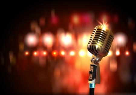 microfono antiguo: Solo micr�fono retro sobre fondo de colores con las luces Foto de archivo