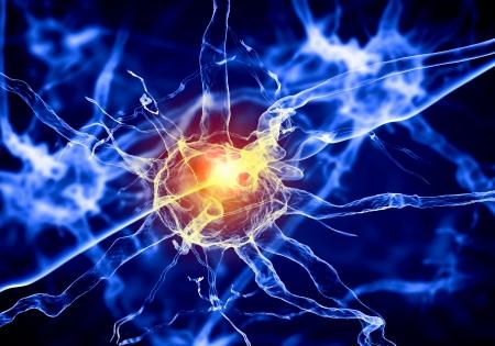 nervios: Ilustraci�n de una c�lula nerviosa en un fondo de color con efectos de luz Foto de archivo