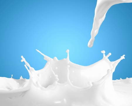 Image of milk splashes against color background photo