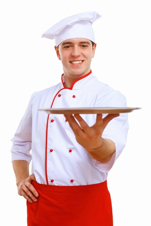 serving tray: Male cook in uniform holding an empty tray