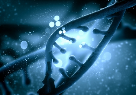 DNA molecule is located in front of a colored background  abstract collage Stock Photo - 19204274