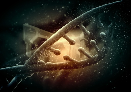 DNA molecule is located in front of a colored background  abstract collage Stock Photo - 19204270