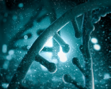 Mol?cula de ADN se encuentra en frente de un collage extracto fondo coloreado Foto de archivo