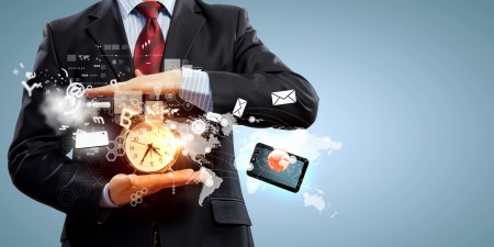 Image of businessman holding alarmclock against illustration background Collage