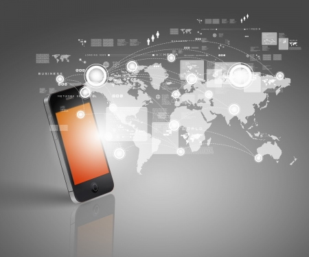 mobile commerce: Modern communication technology illustration with mobile phone and high tech background Stock Photo