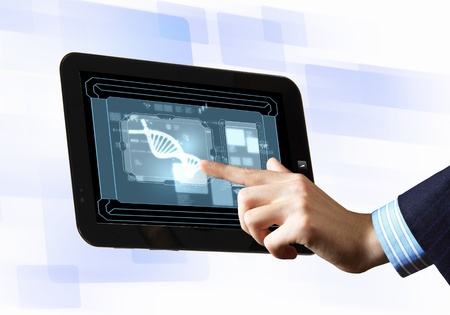 DNA helix abstract background on the tablet screen  Illustration Stock Illustration - 19305401
