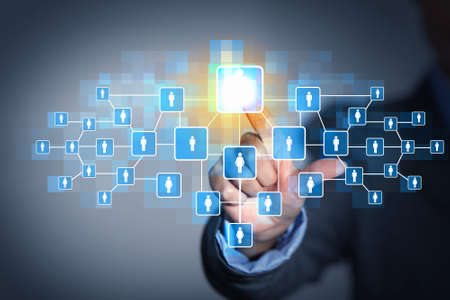 Image of male touching virtual icon of social network Stock Photo - 19305418