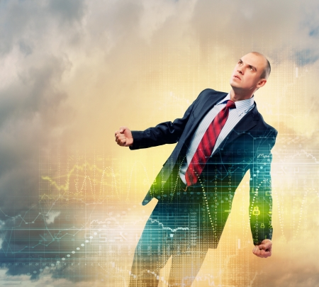 Image of young businessman in anger against illustration background Stock Photo