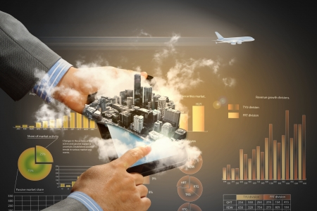 future city: Image of businessman hands touching pad with virtual illustration against diagram background
