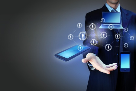 electronic devices: Modern wireless technology and social media illustration