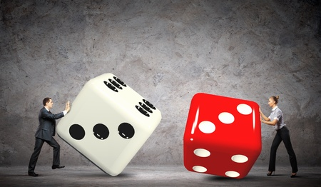 Man and woman pulling dices  Interaction concept photo