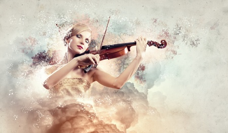 woman violin: Image of gorgeous woman playing violin against colorful background Stock Photo