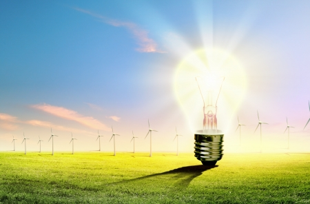 Image of light bulb against nature background  Ecological concept