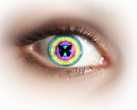 Close-up image of woman s eye with symbol Stock Photo - 19785211