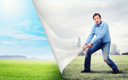 Image of adult handsome man changing reality photo