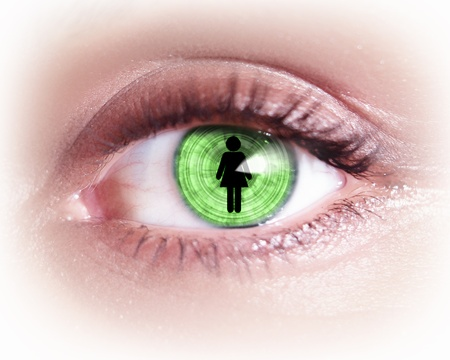 Close-up image of woman s eye with symbol Stock Photo - 19784958
