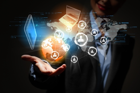 Modern wireless technology illustration with a computer device photo