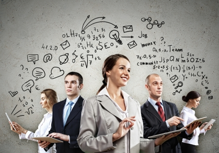 happy team: Image of young businesspeople team  Collage background Stock Photo