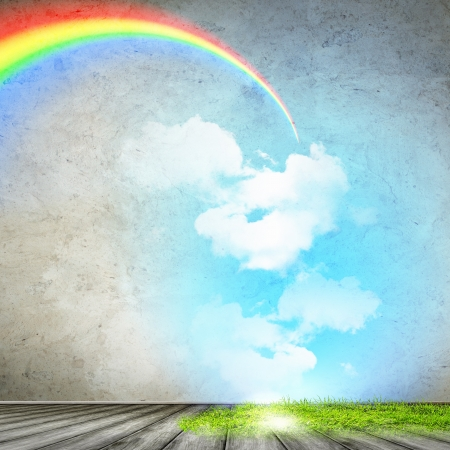 Image of bright rainbow in summer sky photo