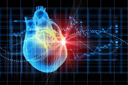 人間の心の心電図と仮想イメージ 写真素材