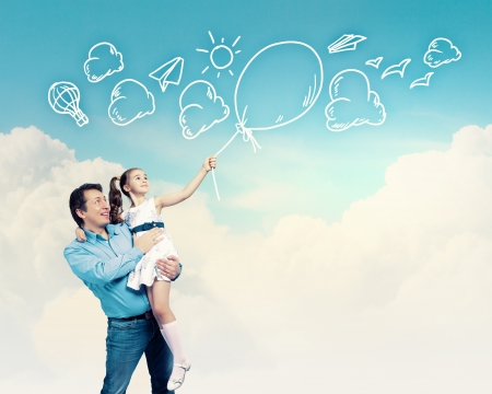 kid's day: Image of happy father holding on hands daughter  Collage Stock Photo