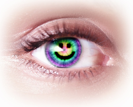 Close-up image of woman s eye with symbol Stock Photo - 19915106