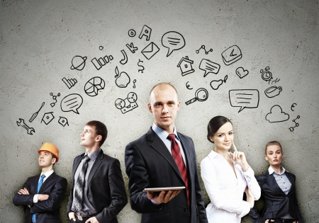 corporate group: Image of young businesspeople team  Collage background Stock Photo