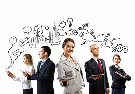 Image of young businesspeople team Collage background
