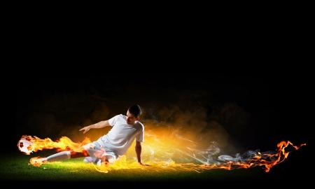 football kick: Image of football player in white shirt