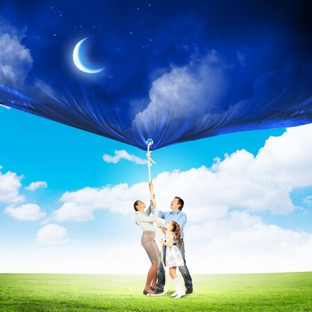 Image of young happy family pulling banner with night illustration Stock Illustration - 19976402