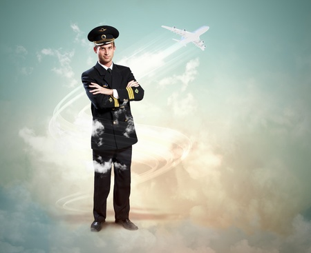 Image of male pilot with airplane flying around him photo
