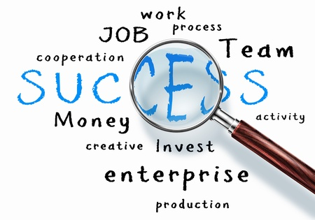 bcp: Business words collage under a magnifying glass Stock Photo