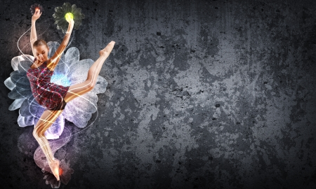 dancing pose: Girl dancing in a color dress with a gray background  Collage