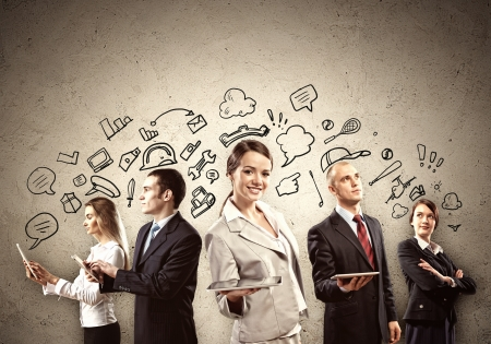 businesswoman standing: Image of young businesspeople team  Collage background Stock Photo
