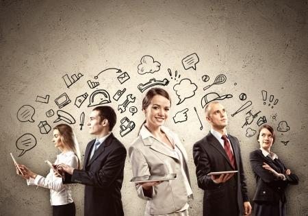 businesswoman suit: Imagen de j?venes empresarios equipo de fondo Collage Foto de archivo