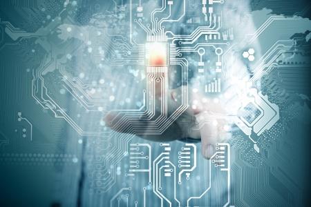 futuro la tecnologia touch virtuale pulsante inerface illustrazione
