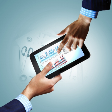 Modern computer technology in business illustration with wireless device illustration