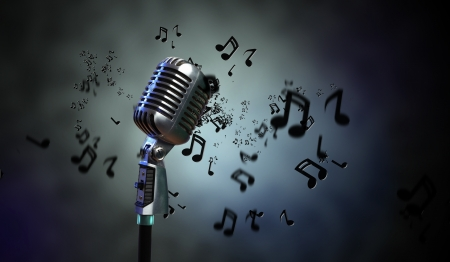 Single retro microphone against dark background with music notes Stock Photo