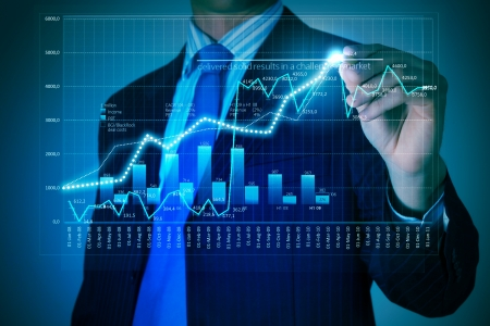 economie: Close-up beeld van de zakenman tekening 3d graphics