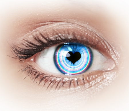 Close-up image of woman s eye with symbol Stock Photo - 20026105