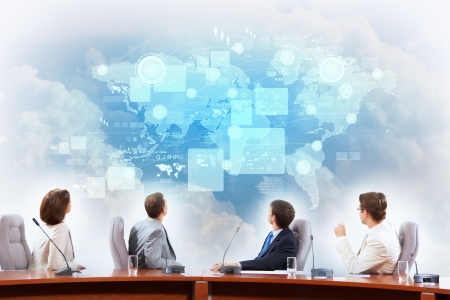 project: Image of businesspeople at presentation looking at virtual project
