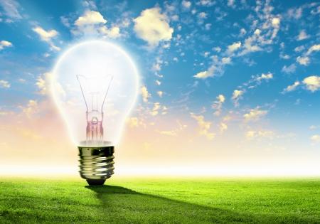 Immagine di lampadina su sfondo di natura Concetto ecologico Archivio Fotografico - 20025961