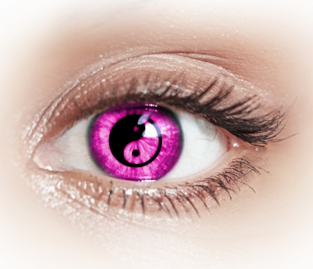 blue eyes girl: Close-up image of woman s eye with symbol