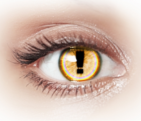 Close-up image of woman s eye with symbol Stock Photo - 20026096