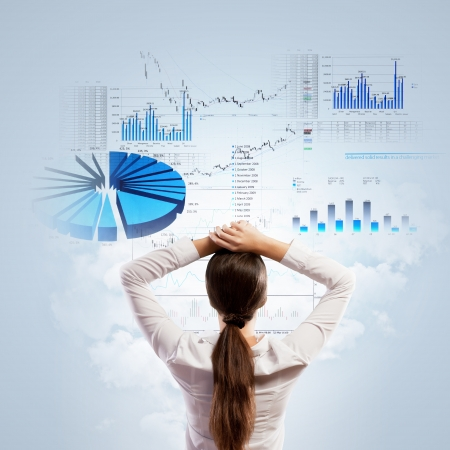 making up: Back view of businesswoman looking at diagram illustration Stock Photo